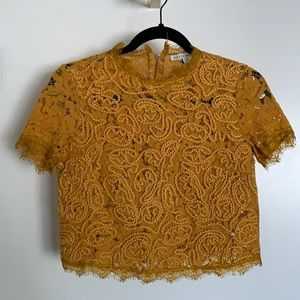 Yellow Lace Couture Crop Top
